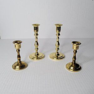 """Vintage Brass Candlestick Holders 7"""" and 4.5"""" Tall Hollywood Regency 2 Pair"""